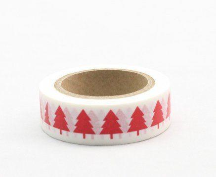 Washi Tape - dekorační lepicí páska - 10mx15mm - STROMY ČERVENÉ ostatní
