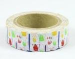 Washi Tape - dekorační lepicí páska - 10mx15mm - ZAHRADNÍ KONVIČKY