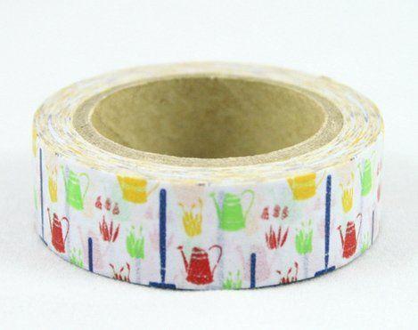 Washi Tape - dekorační lepicí páska - 10mx15mm - ZAHRADNÍ KONVIČKY ostatní