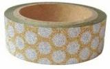 Washi Tape - dekorační lepicí páska glitrová - 5m x 15mm - ZLATÁ SE STŘÍBRNÝMI PUNTÍKY