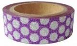 Washi Tape - dekorační lepicí páska glitrová - 5m x 15mm - FIALOVÁ SE STŘÍBRNÝMI PUNTÍKY