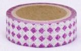 Washi Tape - dekorační lepicí páska glitrová - 5m x 15mm - FIALOVÉ KOSOČTVERCE