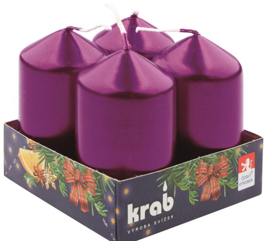 Adventní svíce válec fialová LAK 40 x 60 mm, 4 ks v sadě