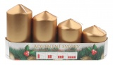 Adventní svíce válec zlatá LAK, postupka 50, 75, 90, 105 x 60 mm, 4 ks