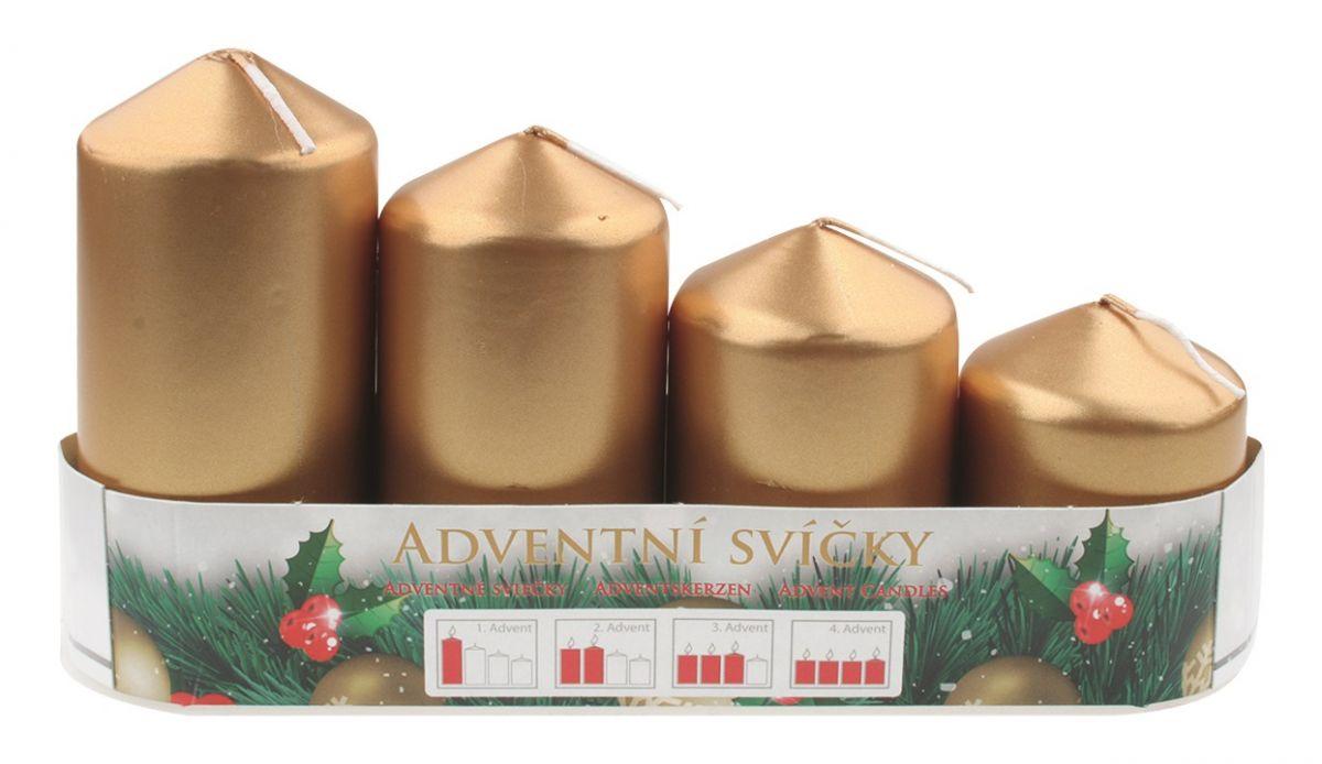 Adventní svíce válec zlatá LAK, postupka 50, 75, 90, 105 x 60 mm, 4 ks ostatní