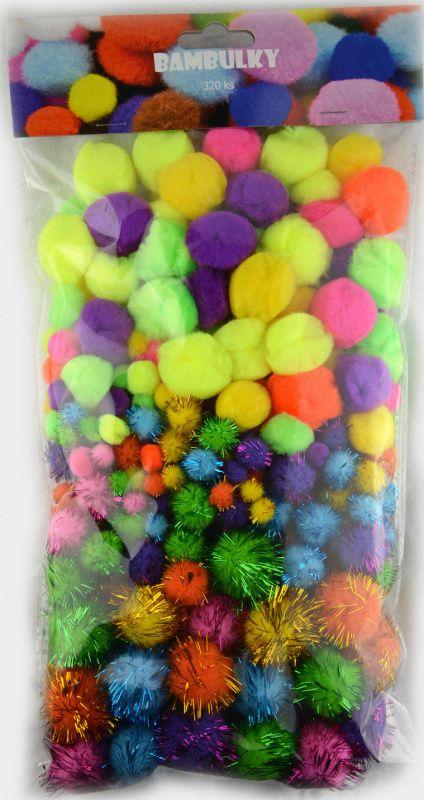 Bambulky - akrylové a třpytivé, 320 ks mix velikostí a barev SMTCreatoys