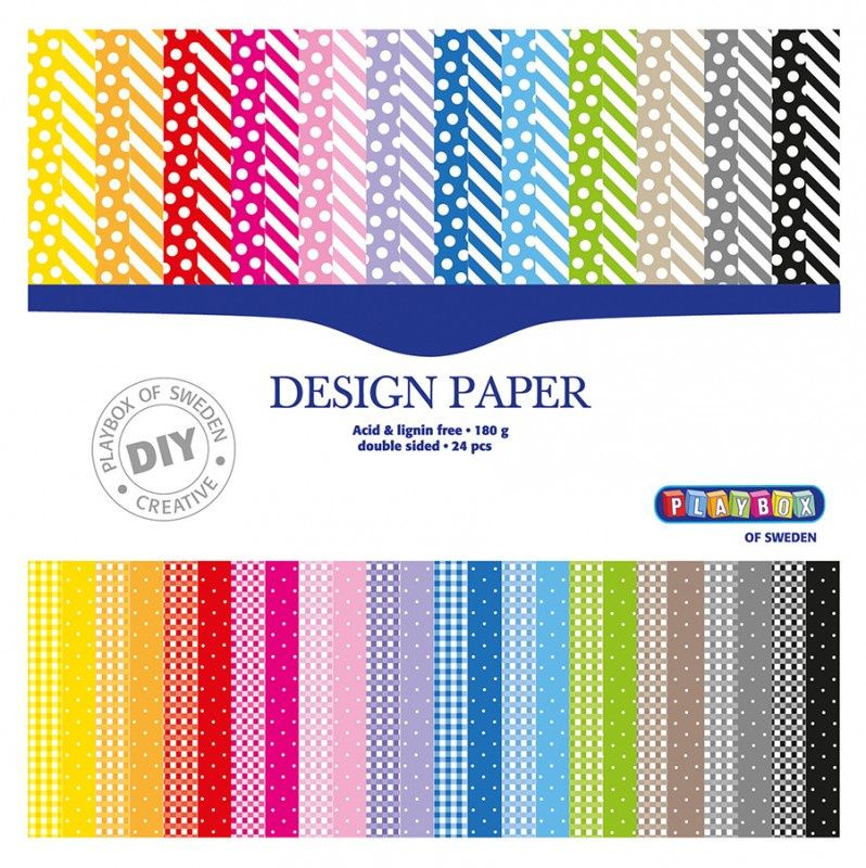 Barevné papíry 305x305 mm, 24 listů, 180g, oboustranné PLAYBOX