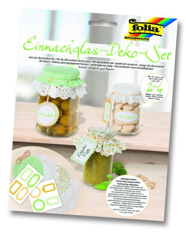Dekorativní sada na marmelády, kompoty - 13 dílů - zelená/žlutá Folia