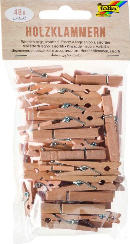 """Dřevěné kolíčky - """"PŘÍRODNÍ""""- 48 ks, různé velikosti Folia"""