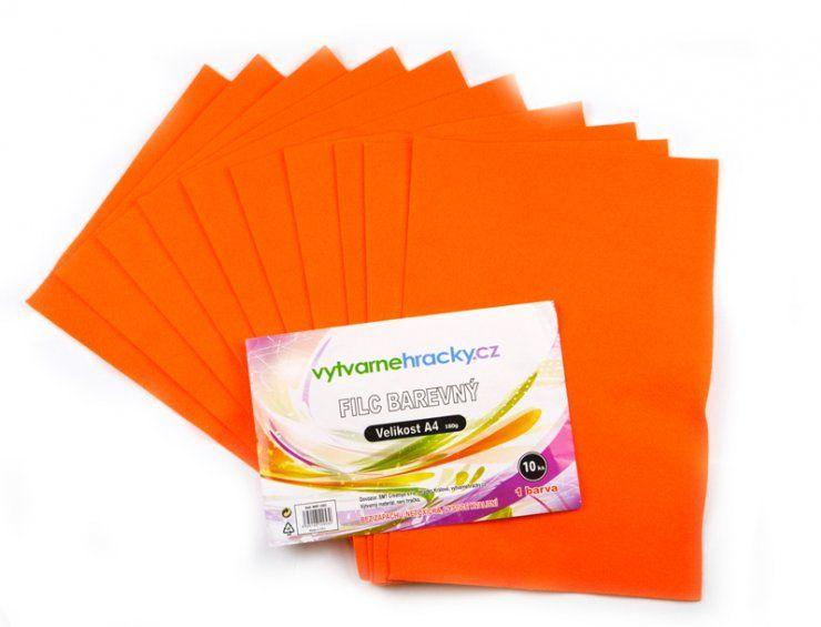 Filc A4- sada 10listů oranžový, 180g SMTCreatoys
