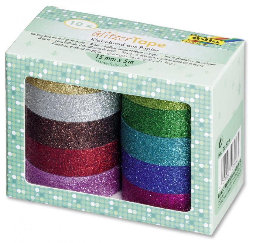Glitter Tape - 10ks dekorační lepicí páska se třpytkami - 5x15mm Folia
