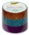 Glitter Tape - 3ks dekorační lepicí páska se třpytkami - 5x15mm MĚDĚNÁ, TYRKYSOVÁ, FIALOVÁ