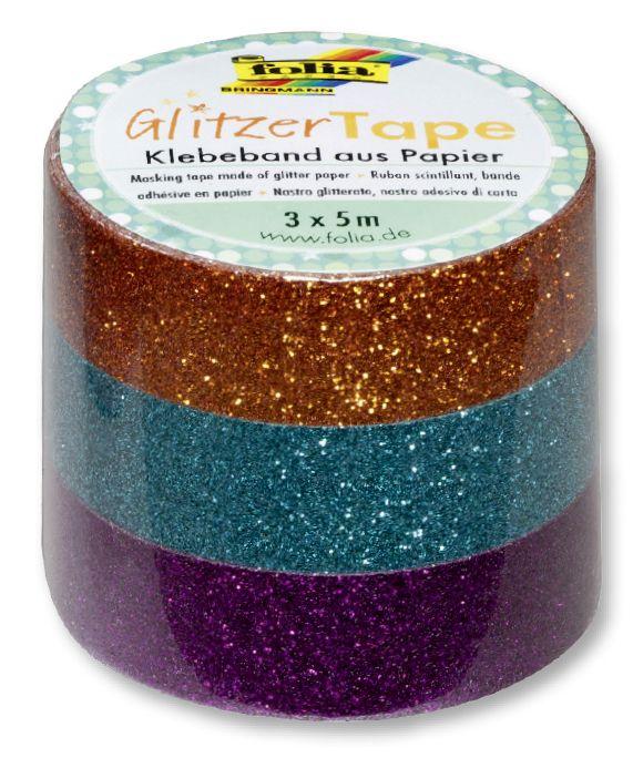Glitter Tape - 3ks dekorační lepicí páska se třpytkami - 5x15mm MĚDĚNÁ, TYRKYSOVÁ, FIALOVÁ Folia