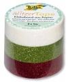 Glitter Tape - 3ks dekorační lepicí páska se třpytkami - 5x15mm BÍLÁ,ZELENÁ, ČERVENÁ