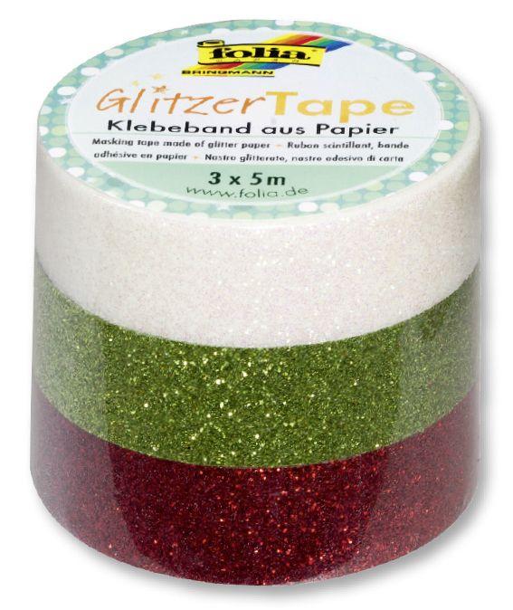 Glitter Tape - 3ks dekorační lepicí páska se třpytkami - 5x15mm BÍLÁ,ZELENÁ, ČERVENÁ Folia