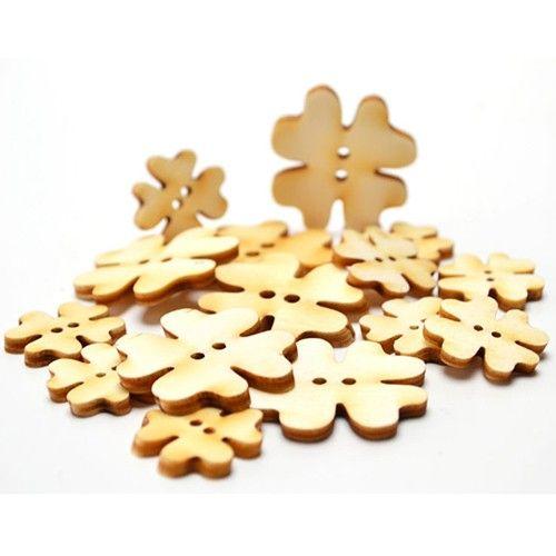 Knoflíčky čtyřlístky 2-3cm - dřevěné výřezy (15ks) ostatní