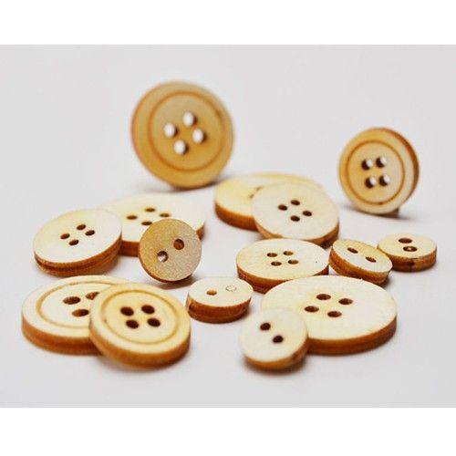 Knoflíčky kulaté 1-2cm - dřevěné výřezy (15ks)