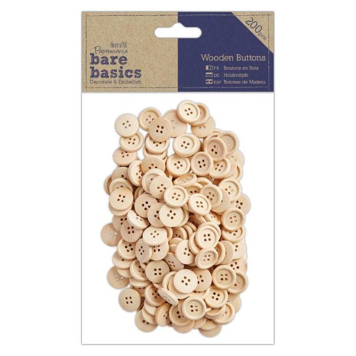Knoflíky - dřevěné dekorace (200ks) DOCRAFTS
