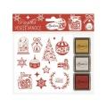Krásné Vánoce - gumová razítka s pěnovkou sada (13ks) a razítkovací polštářky (3ks)