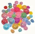 Látkové kloboučky, 50 ks, mix velikostí a barev