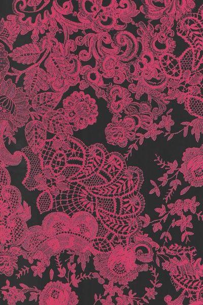 Papír Décopatch - Černý s růžovými květinami DÉCOPATCH