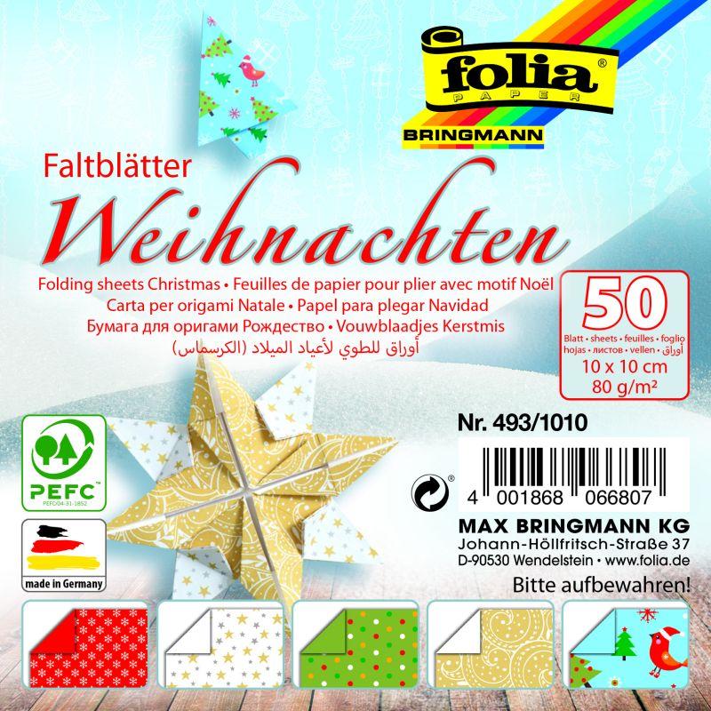 Papíry na skládání Origami - motiv Vánoce 50 listů 10x10 cm 80g Folia