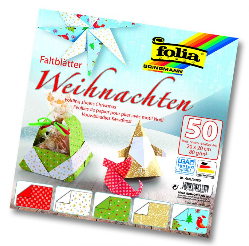 Papíry na skládání Origami - motiv Vánoce 50 listů 20x20 cm 80g