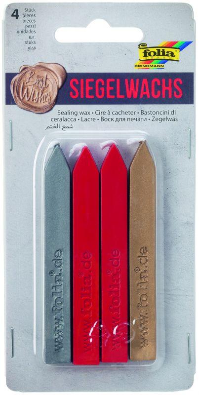 Pečetící vosk - 4 ks (stříbrná, červená, zlatá) Folia