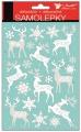 Samolepky bílé se stříbrnými glitry 25x14 cm, jeleni