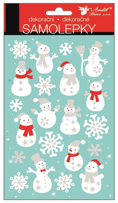 Samolepky bílé se stříbrnými glitry 25x14 cm, sněhuláci