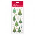 Samolepky třpytivé 10x23cm - Vánoční stromečky