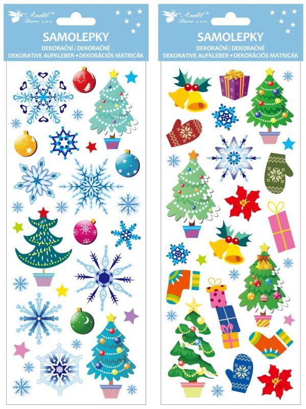 Samolepky vánoční barevné s glitrem 13 x 34,5 cm