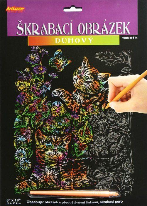 Škrabací obrázek - duhový - Kočičky ArtLover