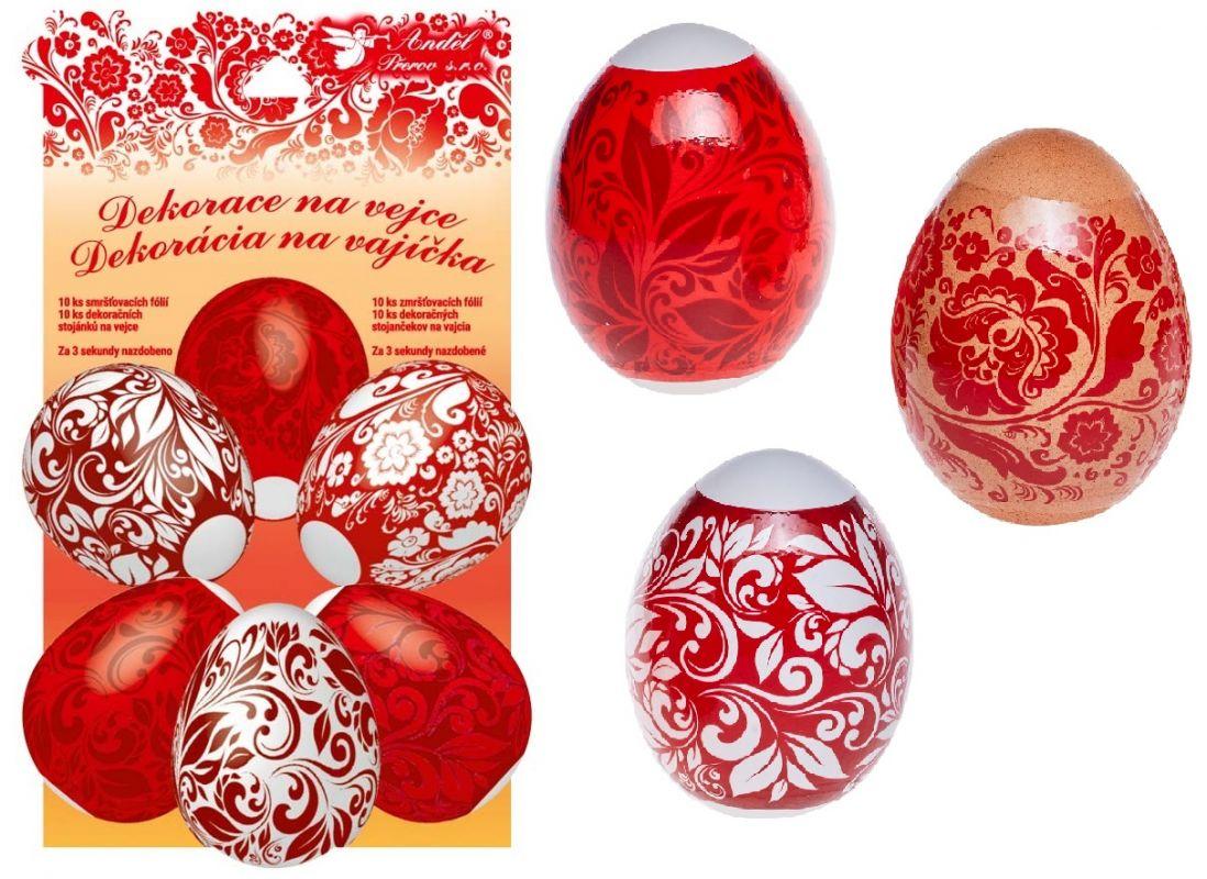 Smršťovací dekorace na vejce červené 10 ks+10 stojánků