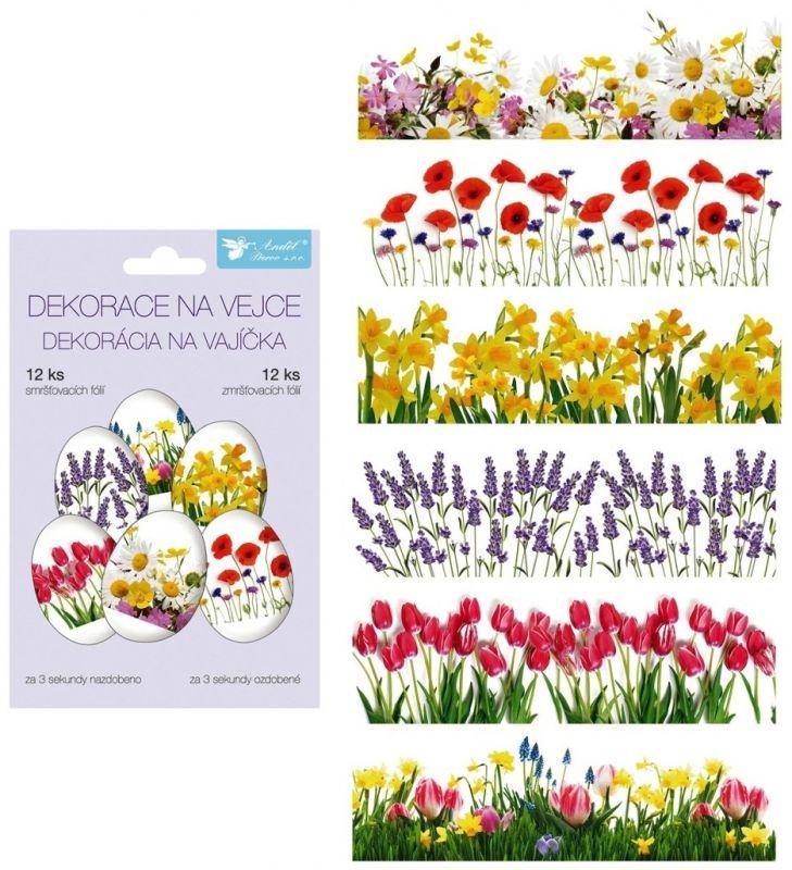 Smršťovací dekorace na vejce jarní květy, 12 ks Andel