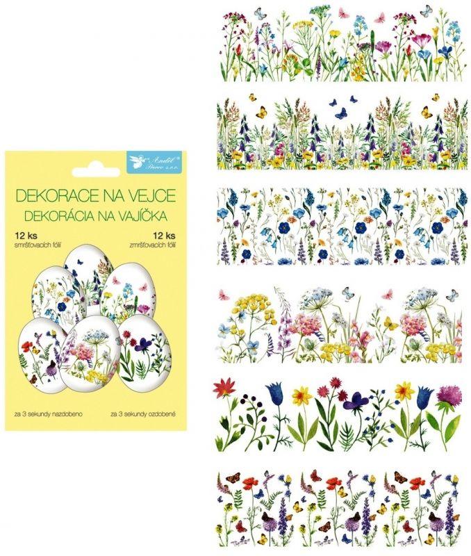 Smršťovací dekorace na vejce jemné květiny, 12 ks Andel