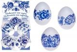 Smršťovací dekorace na vejce modré 10ks + 10 stojánků