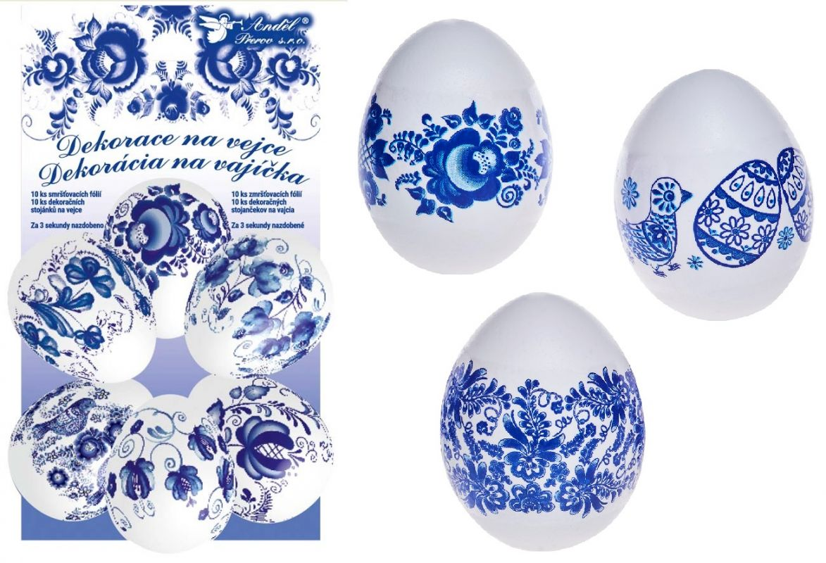 Smršťovací dekorace na vejce modré 10ks + 10 stojánků Andel