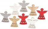 Výseky dřevěné - andělé 3,5 cm, 4 barvy- 8 ks