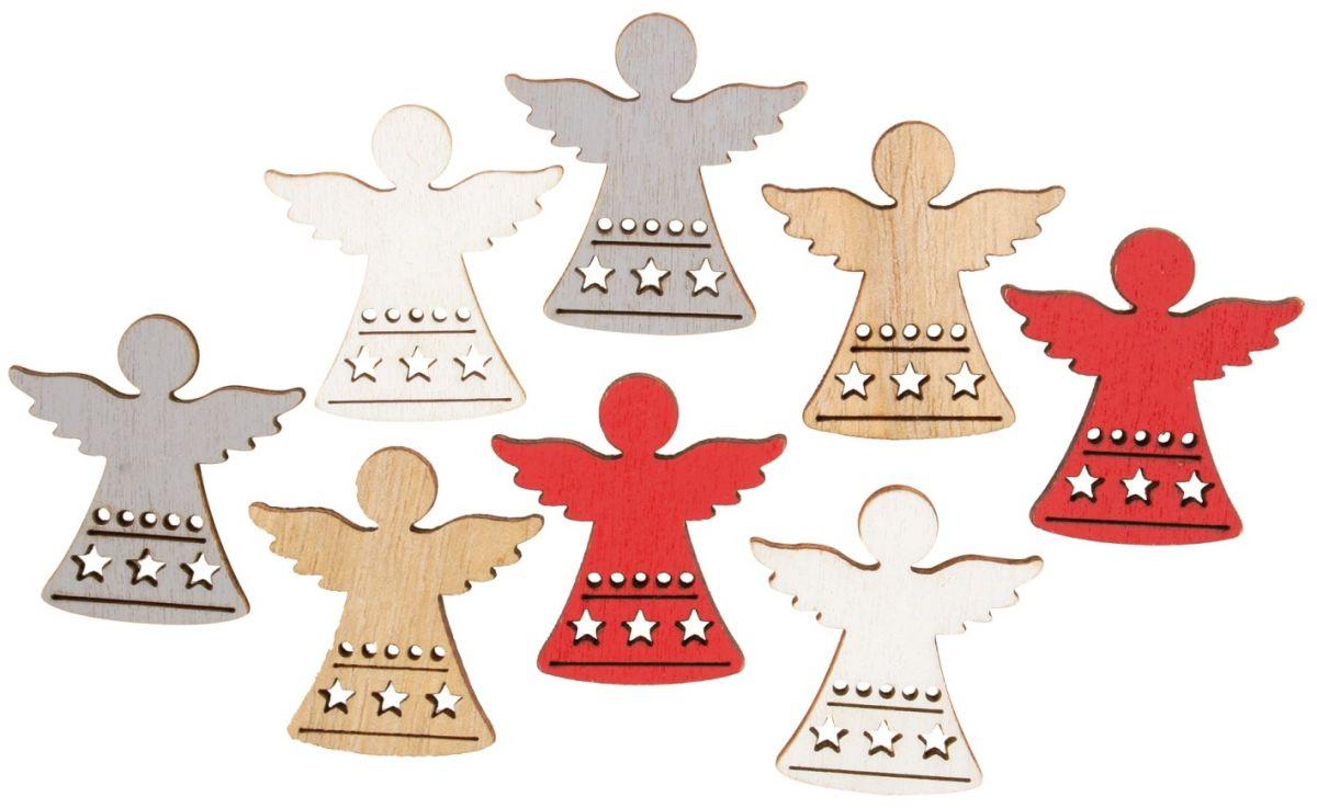 Výseky dřevěné - andělé 3,5 cm, 4 barvy- 8 ks ostatní