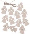 Výseky dřevěné - andělé 3 cm, stříbrný - 12 ks