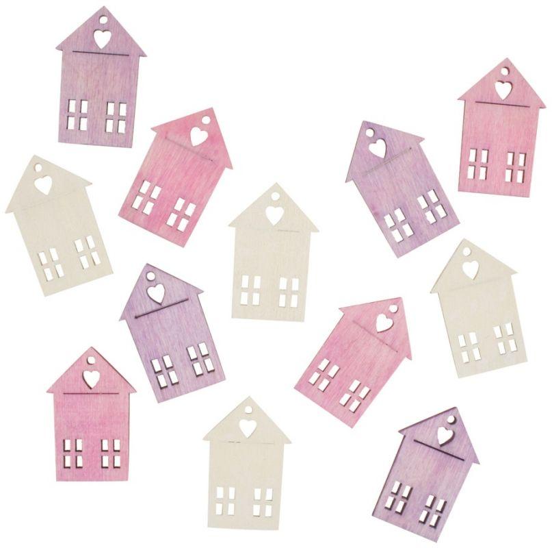 Výseky dřevěné - domy 4 cm, 12 ks ostatní