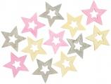 Výseky dřevěné - hvězdy 4 cm, 3 barvy - 12 ks  ...3981