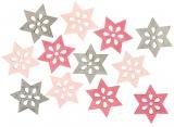 Výseky dřevěné - hvězdy 4 cm, 3 barvy - 12 ks  ...3982