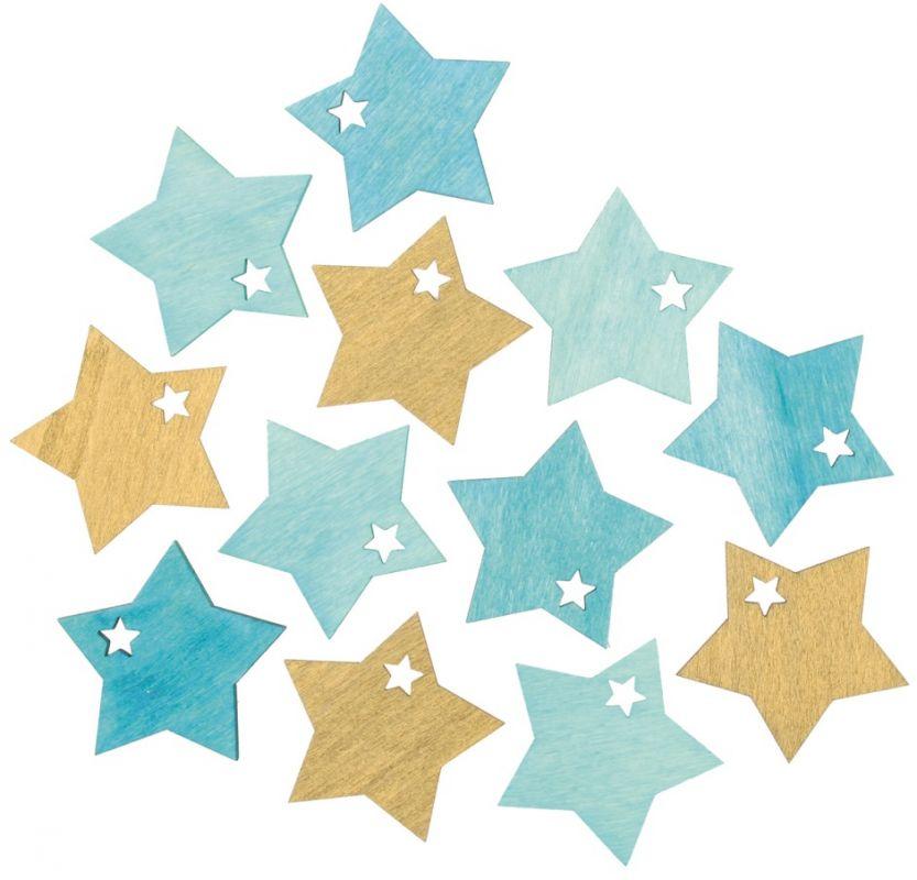 Výseky dřevěné - hvězdy 4 cm, 3 barvy - 12 ks ...3988