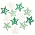 Výseky dřevěné - hvězdy 4 cm, 3 barvy - 12 ks  ...3990