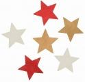 Výseky dřevěné - hvězdy 6 cm, 3 barvy - 6ks