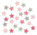 Výseky dřevěné - hvězdy II 2 cm, 3 barvy - 24 ks   ...4014