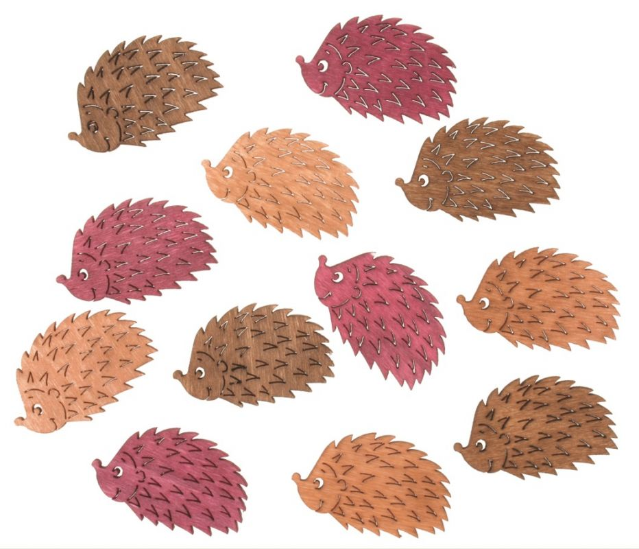 Výseky dřevěné - ježci 4 cm, 3 barvy - 12 ks ostatní