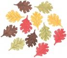 Výseky dřevěné - listy 4 cm, 3 barvy -12 ks